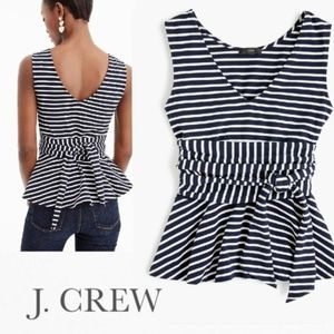 J. Crew Sleeveless Tie-Waist Peplum Top in Stripe